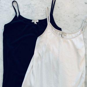 Joie Set of 2 Black + White Tank Tops - M
